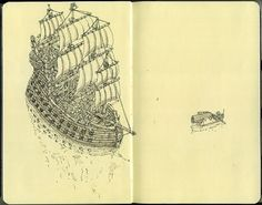 Moleskine Sketches by Mattias Adolfsson | Best Bookmarks #warship #moleskine #sketch