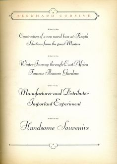 Bernhard Cursive type specimen #type #specimen