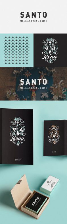 Branding for Santo #pattern #branding #business #london #menu #restaurant #mexican #skulls #cards