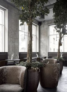 Copenhagen Restaurant Exhibiting Warm and Material Richness Against Raw Concrete Walls 5