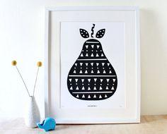 Pear Art, Scandinavian Print, Screenprint, Geometric, Black