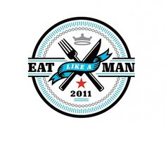 Esquire Eat Like A Man - Matt Lehman Studio #badge #esquire #black #gray #logo #knife #blue #fork