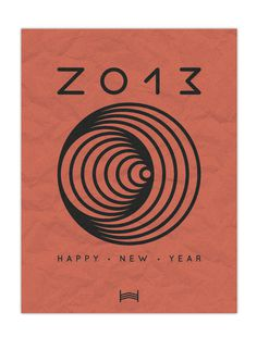 Happy New Year // 2013 - By Hadrien Degay Delpeuch #year #card #print #typography #2013 #shape #paper #new