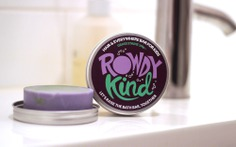 Taller Design Agency Rowdy Kind packaging tin soap bar in bathroom grass stains