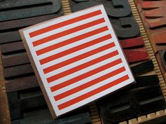 Orange Striped Letterpress Card (blank) from Sixpenny Letterpress