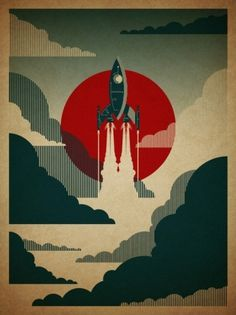 Google Reader (13) #illustration #poster #rocket