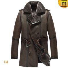 Men Sheepskin Shearling Leather Coat Brown CW856080