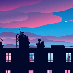 Parisian voyeur fantasy #window #voyeur #paris #illustration #backlight #dusk #pinksky #rooftopsex #exhibition #bagatelle #illustree #picame #thedesigntip