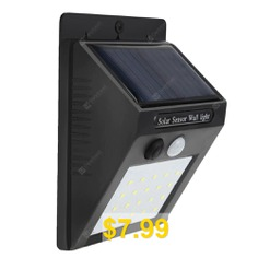 20-LED #Wireless #Motion #Sensor #Solar #Light #Wall #Lamp #for #Corridor #Hallway #Gate #Courtyard #- #BLACK