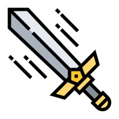 See more icon inspiration related to sword, weapon, Tools and utensils, defense, battle, protection, weapons, medieval and security on Flaticon.