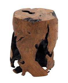 Round Teakwood Tree Stump Stool