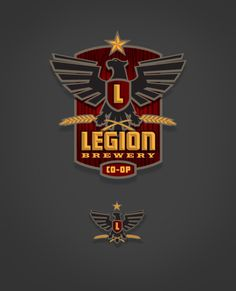personal, logo, beer, bird, wings, sheild, hops, L, star, red, yellow, roman, brewery, legion