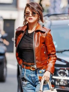 FilmStarLook Offering You Amazing Salena Gomez Leather Jacket For Women's In Best Price With Good Material. So Visit Our Online Store Today And Buy Your Best Product Here. #SalenaGomez #WomenJacket #FilmStarLook #BrownJacket https://bit.ly/2kbvZBs