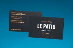 New branding for a bed and breakfast in France, business cards printed on to Colorplan Ebony plain 350gsm paper with Foiled Bronze and Foile