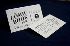 The Comic Book Store Business Cards #white #business #bodoni #serif #card #black #and #comics #cards