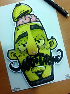Moustache MONSTAnIllustration with mixed media donate to Tetera & Kiwi to the MOVEMBER BENEFICT EXPOSITION #mcapmonsta