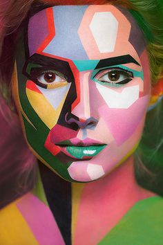 2D or not 2D: Beautful Face Paintings by Valeriya Kutsan #2d #face #photography #paintings