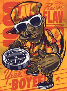 Flavor Flav #publicenemy #hiphop #illustration #poster #flavorflav #typography