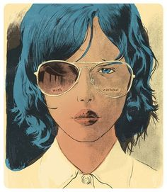 with&without.jpg (JPEG Image, 460x530 pixels) #illustration #woman #sunglasses