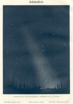 ZODIACAL LIGHT,1890s Astronomy Print #illustration #stars #black #art