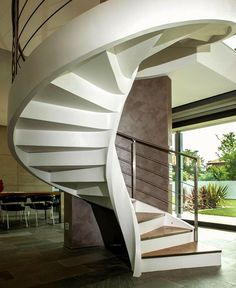 Villa Cattelan Salgher with Rizzi's Sculptural Spiral Staircase - #stairs, #staircase, #stairway