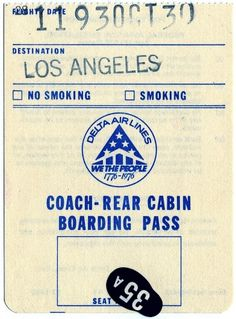 All sizes | Delta L-1011 Boarding Pass ATL to LAX | Flickr - Photo Sharing! #pass #retro #boarding