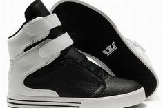 Men Black and White High Top Supra TK Society Skate Footwear