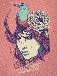 KORCHO #woman #arte #korcho #ilustracin #bird