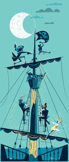 Peter Pan, #reifsnyder #peter #illustration #ship #disney #scotty #pan