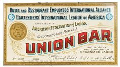 Union Bar Tin Sign, #beer #prohibition #sign #union #bar #vintage