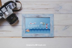 Camera and frame on wooden planks Free Psd. See more inspiration related to Frame, Mockup, Summer, Camera, Beach, Sea, Sun, Photo frame, Photo, Holiday, Mock up, Decorative, Vacation, Wooden, Summer beach, Marine, Up, Season, Wood frame, Composition, Mock, Summertime, Seasonal and Planks on Freepik.