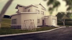 house, cgi, architecture, garden, 3d, animation