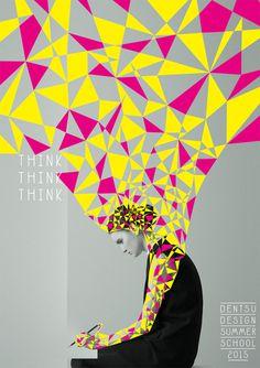 Japanese Poster: Dentsu Design Summer School. Hami Miharu Matsunaga. 2015