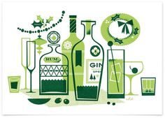 Eight Hour Day » Holiday Cheer #bottle #color #liquor #texture #gin #illustration