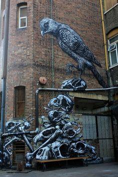 Street artists ROA & Phlegm in Peckham. Photos from Street Art London