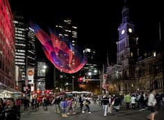 IMG_4868 Tsunami.jpg 681×500 pixels #sculpture #fabric #janet #city #sydney #color #night #art #echelman