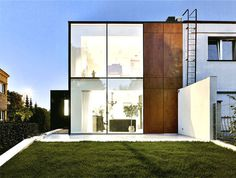 Perforated House   Simple Cube with no Balconies semi detached house contemporary pies art