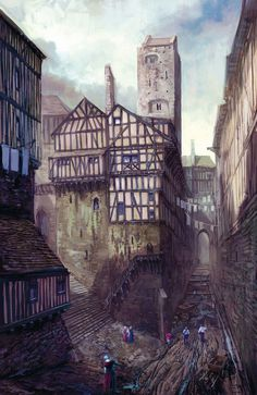 The Witcher 3: Wild Hunt Concept Art by © 2013 CD Projekt S.A. #fantasy #tudor #city #town #the #illustration #concept #medieval #art #witcher