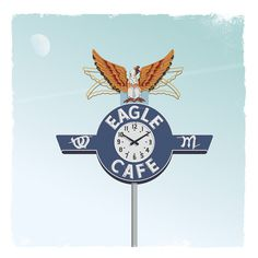 Eagle Café Art Print #sign #totem #cafe #neon