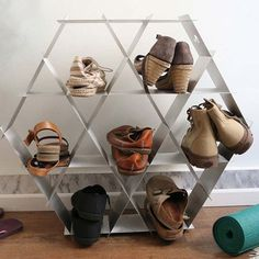 Organize your belongings with this strong, geometrical shelving unit. #modern #design #product #furniture #industrial