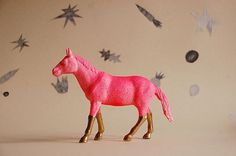 Mom, I want a neon pony! « Peaches To Apples #model #horse #legs #paint #figure #gold #neon