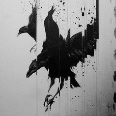 HAIIRO SUSHI (2012) sit #paint #white #black #crow #splatter