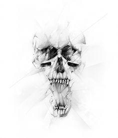 nike01.jpg 700 × 815 Pixel #blackwhite #alexis #nike #illustration #broken #marcou #skull