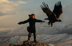 Ashol Pan training her eagle #eagle #golden #hunting