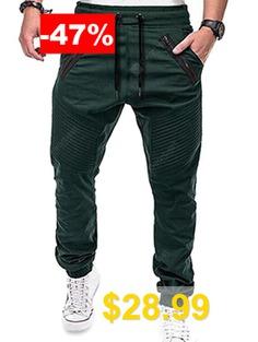 Men's #Casual #Pants #Sports #Striped #Zipper #Trousers #- #MEDIUM #SEA #GREEN