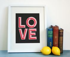 LOVE print on Etsy. #valentines #lemons #print #etsy #crafty #love #type #lemon #framed #typography