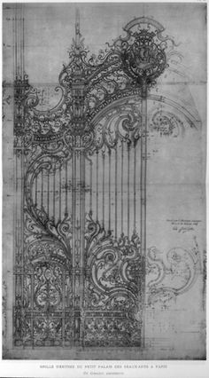 Design for the cast iron door at Petit Palais, Paris by Girault #architecture #drawing #gate