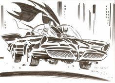 Batman and Robin by Darwyn Cooke, in Mark Schweikert's Darwyn Cooke Comic Art Gallery Room #illustrat #cape #robin #batman #1960s #illustration #comics #car #batmobile