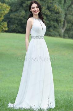 eDressit Charming Halter White Beaded Bridal Gown (01171007)