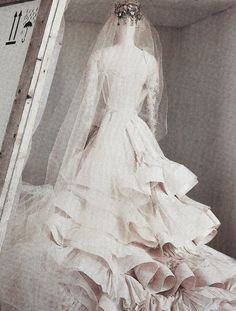 deprincessed:Editorial detail of Christian Lacroix Haute Couture dress in 'The Glorious Tradition' shot by Irving Penn for Vogue US Dece #veil